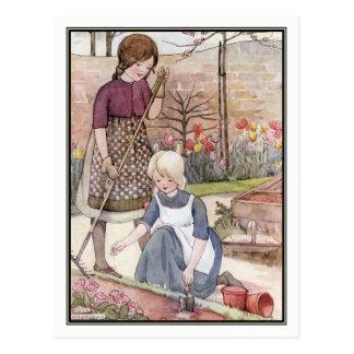 Vintage Kinder, die Samen durch Anne Anderson säen Postkarte