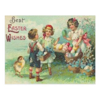 Vintage Kinder mit Osterei-Ostern-Karte Postkarte