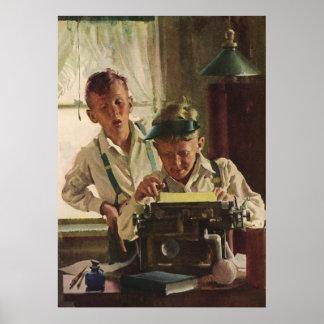 Vintage Kinderjungen-Zeitungs-Journalisten, Poster