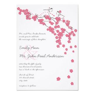 Vintage Kirschblüten-japanische Hochzeit laden ein Karte