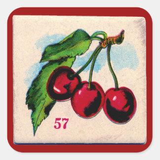 Vintage Kirschspiel-Karte Quadratischer Aufkleber