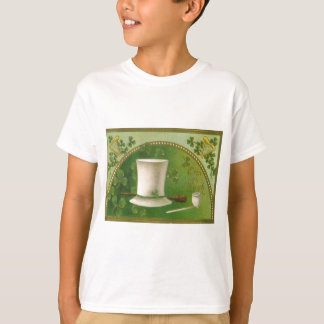 Vintage Kleeblatt-Rohr-Hut-St Patrick Tageskarte T-Shirt