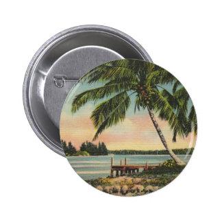 Vintage Kokosnusspalmen Runder Button 5,7 Cm