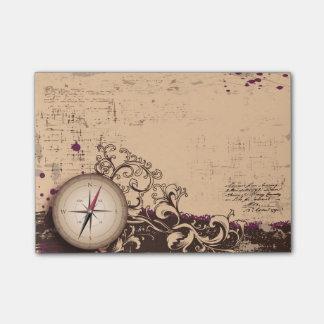 Vintage Kompass-Post-Itanmerkungen Post-it Klebezettel