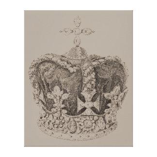 Vintage königliche Kronen-Skizze auf Leinwand