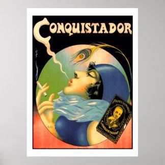 Vintage Konquistador-Zigaretten-Tabakdreißiger Poster