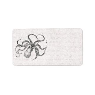 Vintage Kraken-Schablone mit antikem Text Adressaufkleber