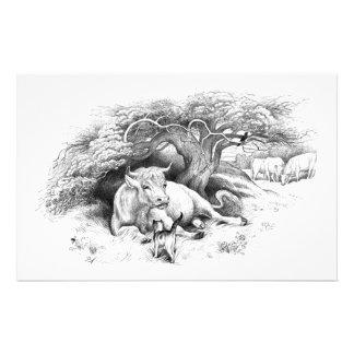 Vintage Kuh-und Katzen-Skizze Briefpapier