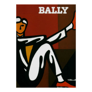 Vintage Kunst-Bally Schuhe Villemot Plakat-Druck Poster
