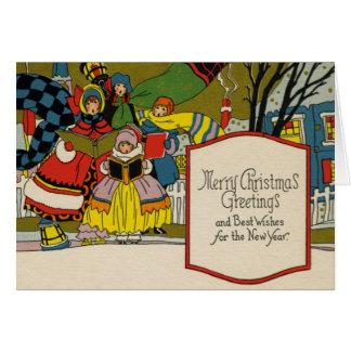 Vintage Kunst-Deko-Weihnachtskarte Karte