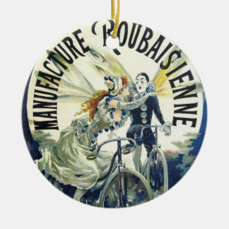 Vintage Kunst Nouveau Feen, Pierrot Fahrrad-Mond Keramik Ornament