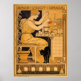 Vintage Kunst Nouveau, Liebe erobert allen Poster
