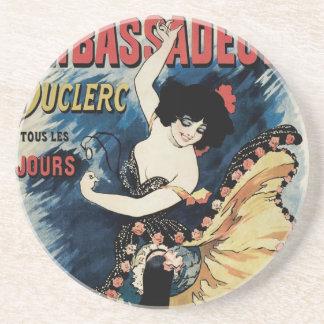 Vintage Kunst Nouveau, spanischer Flamenco-Tänzer Getränkeuntersetzer