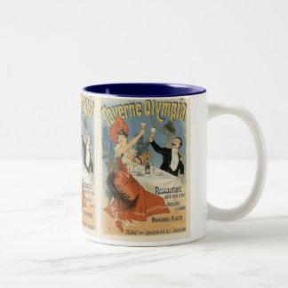 Vintage Kunst Nouveau, Taverne Olympia-Restaurant Zweifarbige Tasse