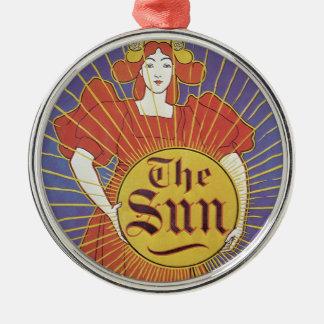 Vintage Kunst Nouveau, Zeitung New York Sun Silbernes Ornament
