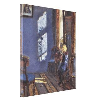 Vintage Kunst, Sonnenschein im blauen Raum durch Leinwanddruck