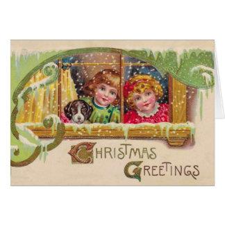 Vintage Kunst-Weihnachtskarte, 2 Kinder, fertigen Karte