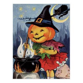 Vintage Kürbis-Hexe MoonPostcard Halloweens Postkarte