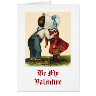 Vintage küssende Karte des Valentines Tages