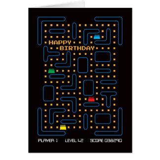 Vintage Labyrinth-Computer-Spiel-Geburtstags-Karte Grußkarte