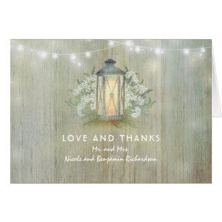 Vintage Laternen-Licht-rustikale Hochzeit danken Karte