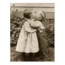 Vintage Liebe Romance, küssende Kinder, erster Postkarte