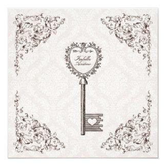 Vintage Liebe-Schlüssel-Hochzeits-Einladung #V1 Quadratische 13,3 Cm Einladungskarte
