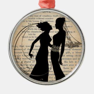 Vintage Liebe u. Heirat lesbisches Wedding Silbernes Ornament