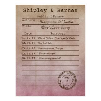 Vintage lila beige Bibliotheks-Karte Save the Date Postkarte