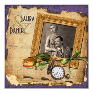 Vintage lila Goldrahmen-Foto-Hochzeit laden ein Quadratische 13,3 Cm Einladungskarte