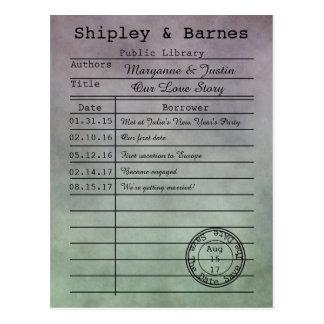 Vintage lila grüne Bibliotheks-Karte Save the Date Postkarte