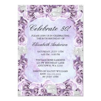 Vintage lila Rosen und Feder-80. Geburtstag 12,7 X 17,8 Cm Einladungskarte