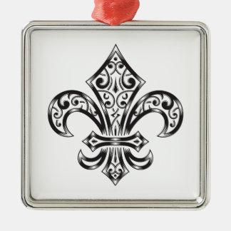 Vintage Lilie mit Rollen in der Wappenkunde-Art Silbernes Ornament