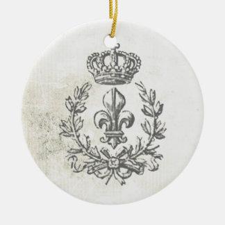 Vintage Lilie und Krone-Verzierung Rundes Keramik Ornament