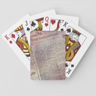 Vintage London-Chronik-Zeitungs-Anzeigen Pokerdeck
