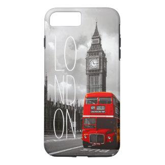 Vintage London-Stadt-rote Bus-Big- Bentypographie iPhone 8 Plus/7 Plus Hülle