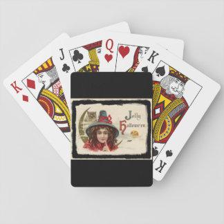 Vintage lustige Halloween-Hexe Spielkarten