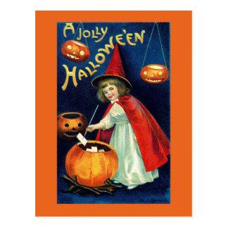 Vintage lustige Halloween-Mädchen-Hexe-Postkarte Postkarte