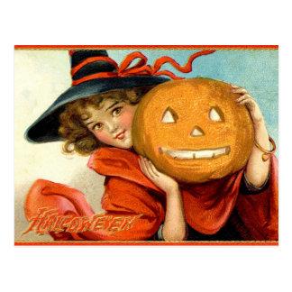 Vintage Mädchen-Hexe-Kürbis-Halloween-Postkarte Postkarte