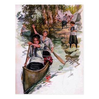 Vintage Mädchen-Pfadfinder-Camper-Canoeing Postkarte
