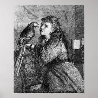 Vintage Mädchen-und Papageien-Radierung Poster