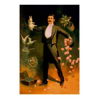 Vintage Magier-Kaninchen-Rosen-Tauben-magische Tri Posterdrucke
