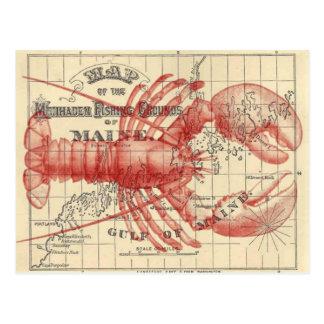 Vintage Maine-Karte mit Hummer-Postkarte Postkarte