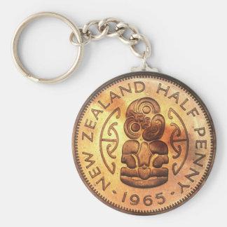 Vintage Maori- Tiki Halfpenny-Münze Keychains Schlüsselanhänger