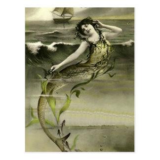 Vintage Meerjungfraubildpostkarte Postkarte