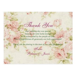 Vintage mit Blumenhochzeit der eleganten rosa Rose Postkarte