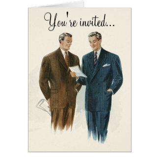 Vintage Modeeinladungs- oder -grußkarte der Männer Karte