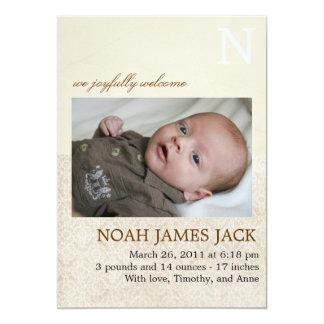 Vintage Monogramm-Geburts-Mitteilung 12,7 X 17,8 Cm Einladungskarte