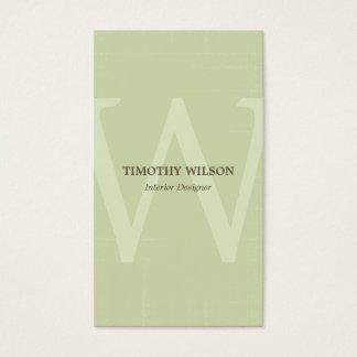 Vintage Monogramm-Geschäfts-Karten - grüner Tee Visitenkarte