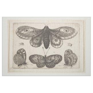 Vintage Motten-Schmetterlinglepidoptera-Tapisserie Stoff